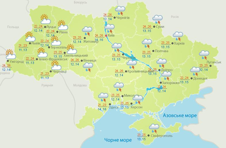 Прогноз погоды на 15 июня.