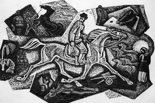 Линогравюра по мотивам повести Чингиз Айтматова Прощай Гюльсары . 1971 год