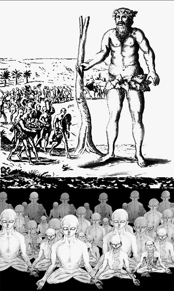 Вавилонский Адам был 11-метровым гигантом (вверху). Другие гиганты (внизу) погрузились всостояние сомати, чтобы сохранить генофонд человечества.