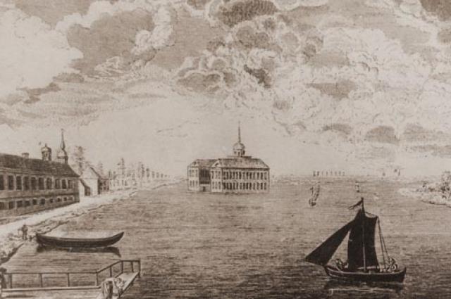 Гравюра П. Штелина «Вид на Подзорный дворец и Прядильный двор со стороны Фонтанки», 1762 г.