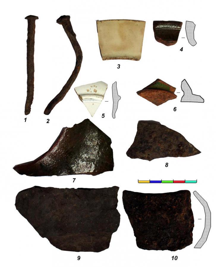 Археологи нашли фрагменты керамических сосудов и кованые гвозди.