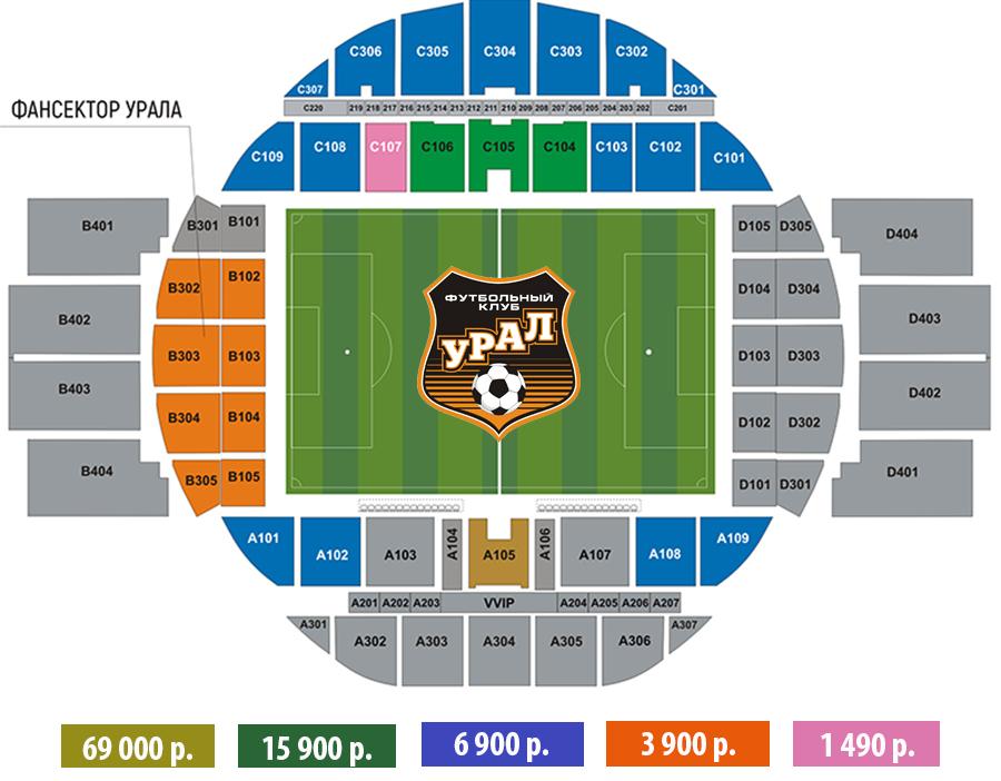Стоимость годового абонемента на матчи ФК «Урал» на Центральном стадионе.