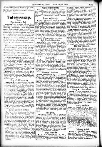 Kurjer Warszawski за 8 ноября 1917 (коллекция национальной библиотеки Польши)