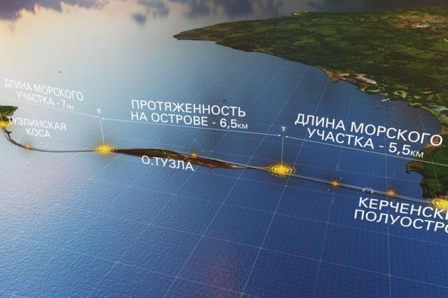 Схема моста через Керченский пролив.