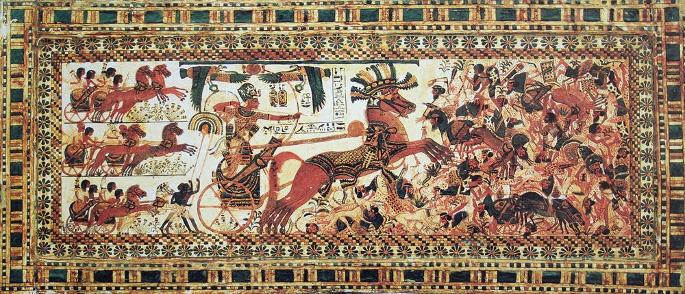 Тутанхамон на колеснице. Изображение из гробницы в Долине царей.