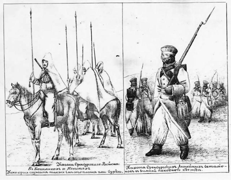 Солдаты и казаки в Хивинском походе.