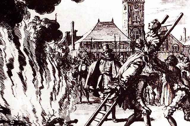 Сожжение ведьмы. Гравюра XVI века.