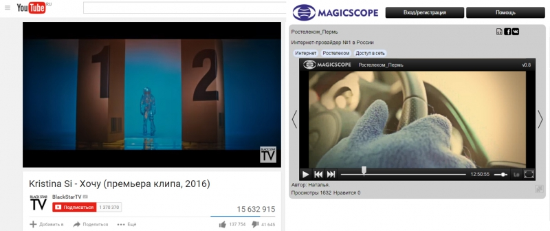 YouTube и Magicscope.