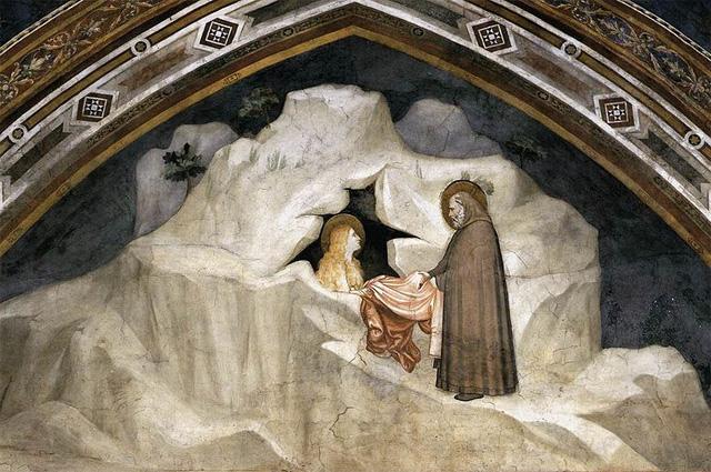 Старец Зосима даёт гиматий Марии Египетской. Фреска Джотто в капелле Магдалины нижней базилики Сан-Франческо в Ассизи, 1320-е