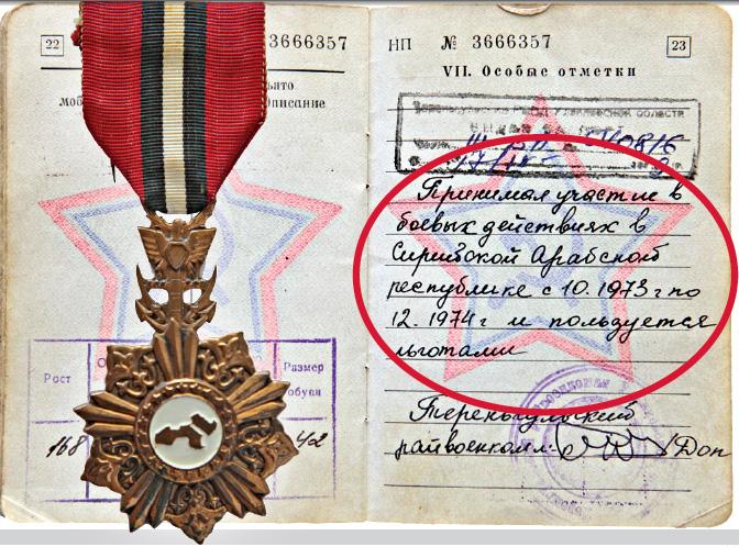 Военный билет и сирийский орден «Шестого октября» Михаила Тараканова.
