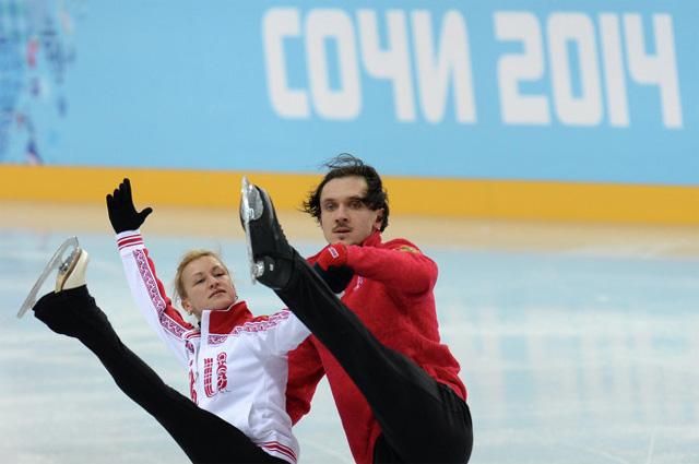 Татьяна Волосожар и Максим Траньков (Россия) во время тренировки перед XXII зимними Олимпийскими играми в Сочи