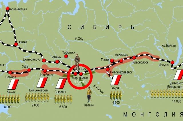 Это инфографика расположения частей чехословацкого корпуса вдоль Транссибирской магистрали.