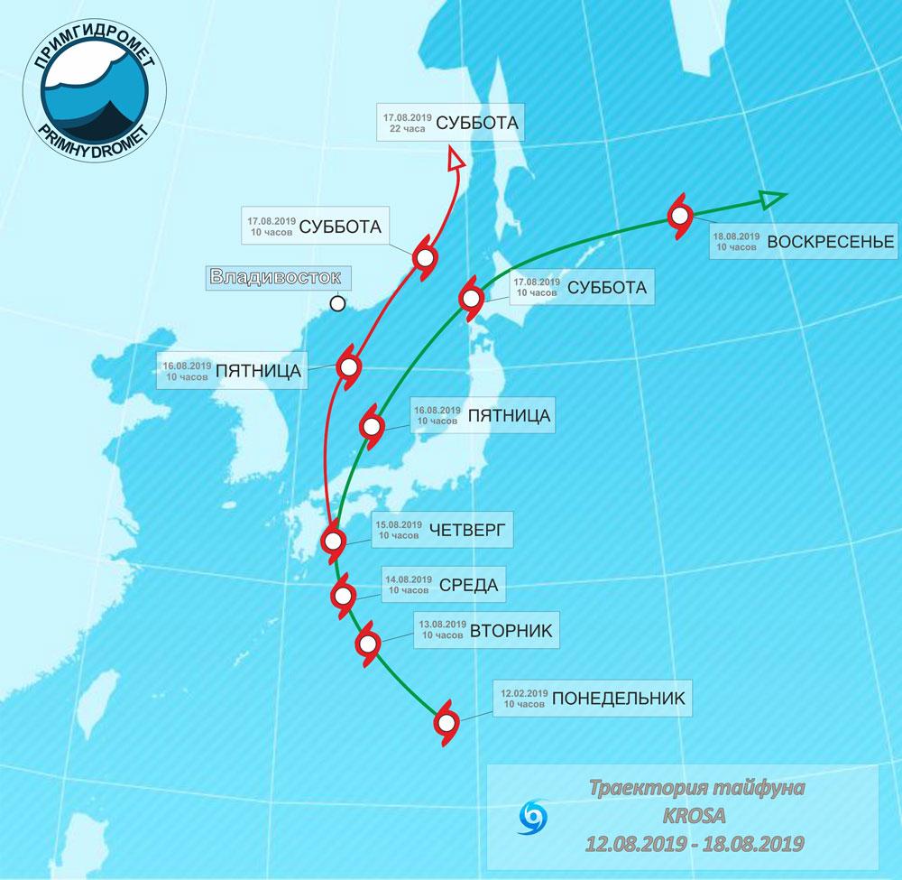 Синоптики составили карту вариантов прохождения тайфуна Корса