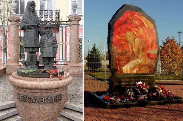 Памятники в Красноярске и Тихвине.