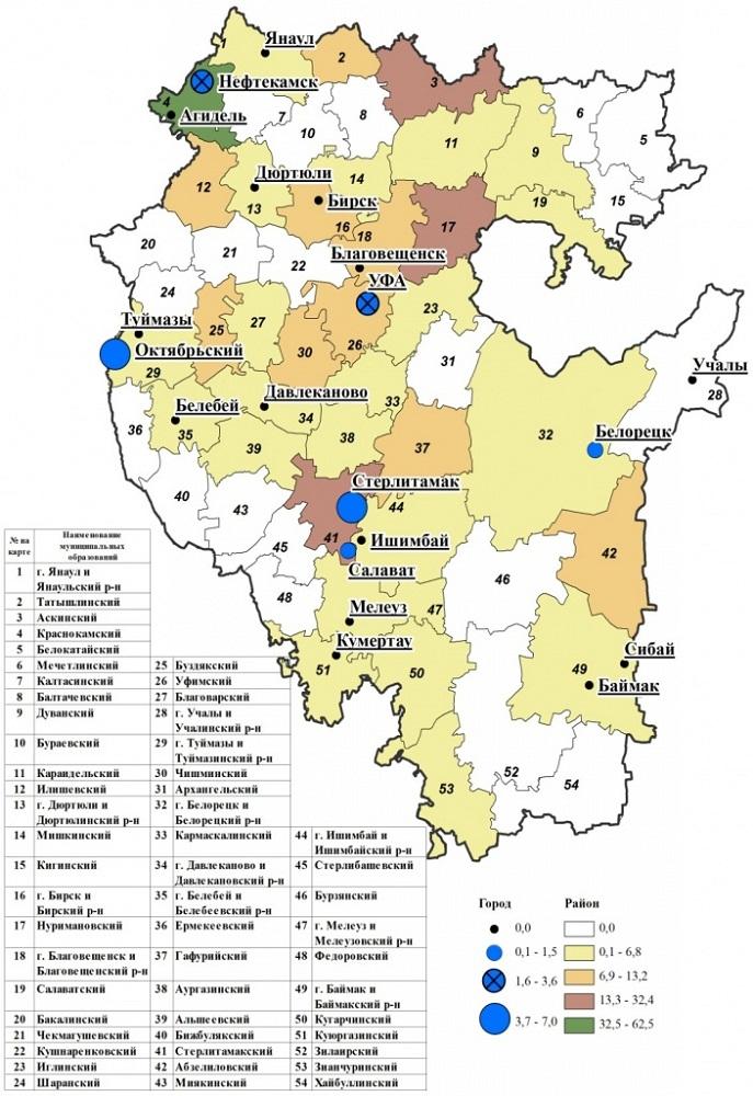 В каких районах Башкирии заражались