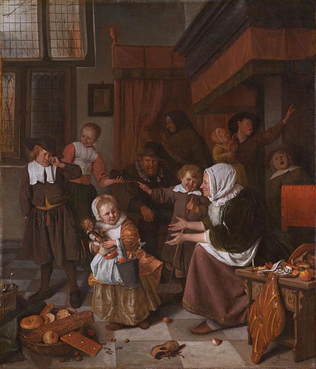 День святого Николая. Картина голландского художника Яна Стена, ок.1665-1668 гг