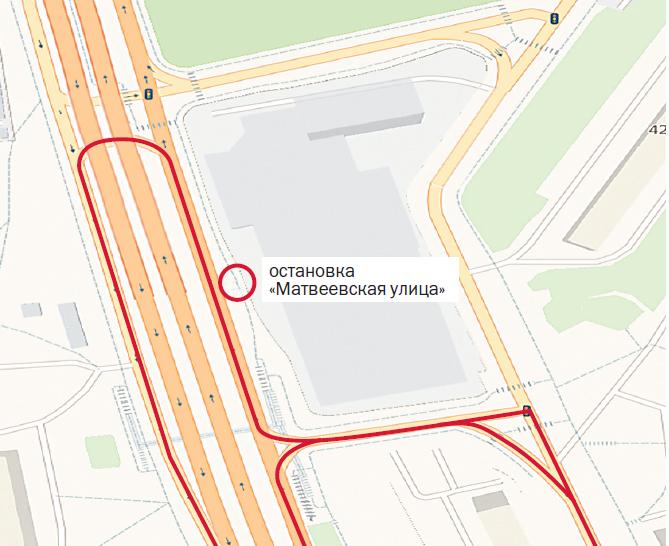 С 5 октября на Аминьевском шоссе для маршрутов № 325, 329 и 519 вводится остановка «Матвеевская улица».