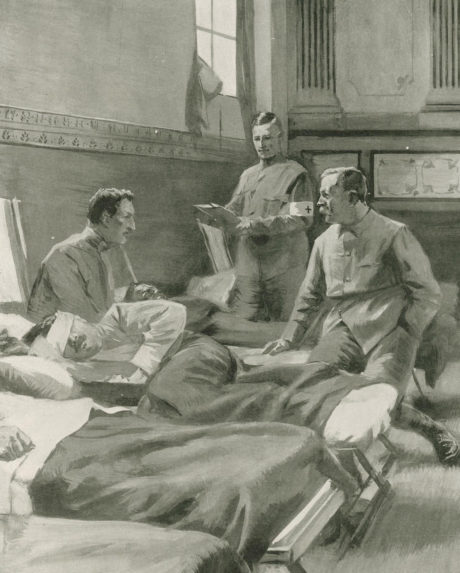 Сэр Артур Конан Дойл в полевом госпитале во время Англо-бурской войны. работа не ранее 1899 года