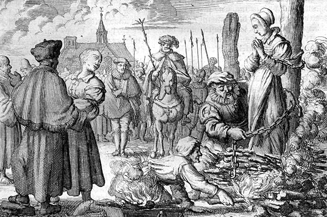 Ян Люйкен. Приготовления к казни в 1544 году. Гравюра XVII в.