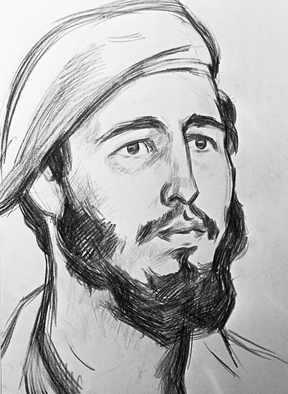 Репродукция рисунка «Фидель Кастро» работы художника Виктора Иванова.