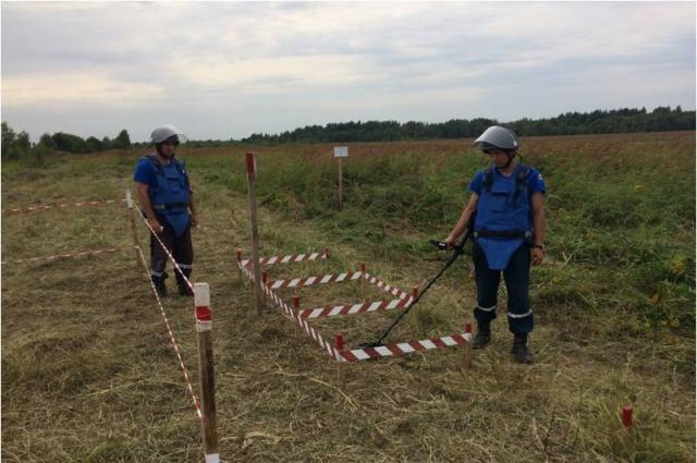 26 августа группой ручного разминирования проверен участок местности общей площадью 1,19 га (11900 м2).