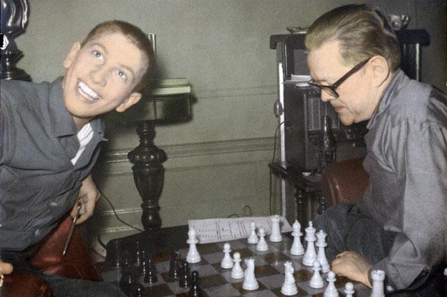 Юный Фишер играет против Джона Коллинза