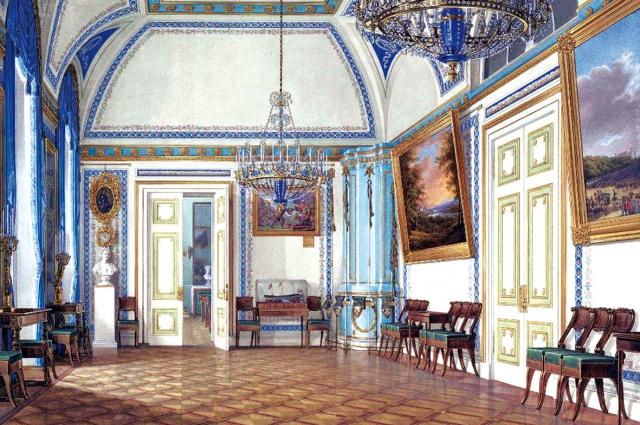 Приёмная наследника цесаревича Александра Николаевича, XIX век. Акварель, Эдуард Гау, 1860-е.