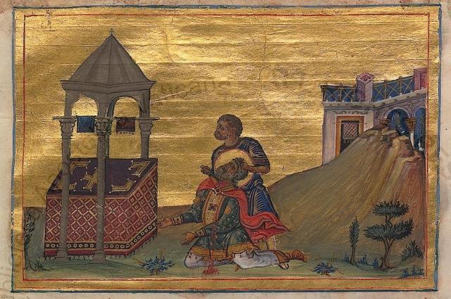 Убийство Захарии (миниатюра из Минология Василия II, 976—1025 гг.).