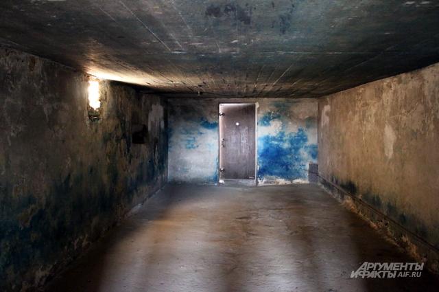 Жертвы входили в цементную душевую, дверь блокировалась, и из отверстий на потолке струился газ. Поражает глазок в двери - какая-то сволочь из СС спокойно смотрела, как люди умирают в мучениях.