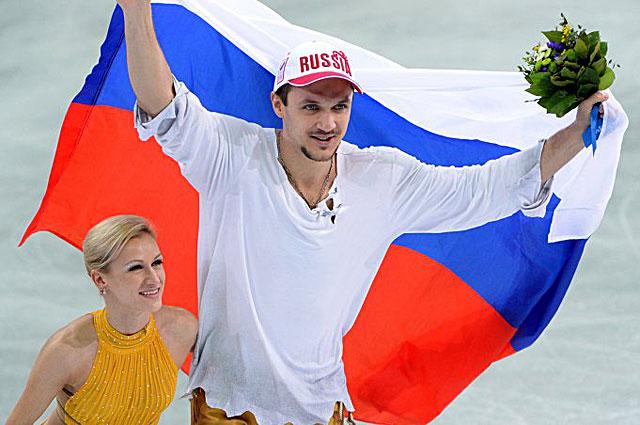 Татьяна Волосожар и Максим Траньков после победы в Сочи