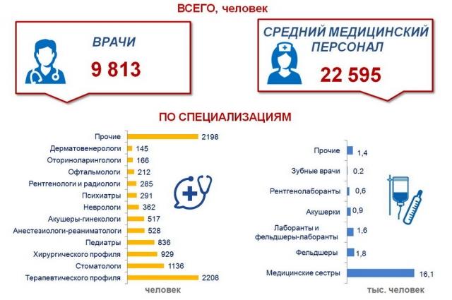 Численность медицинских работников в Омской области в 2019 г.