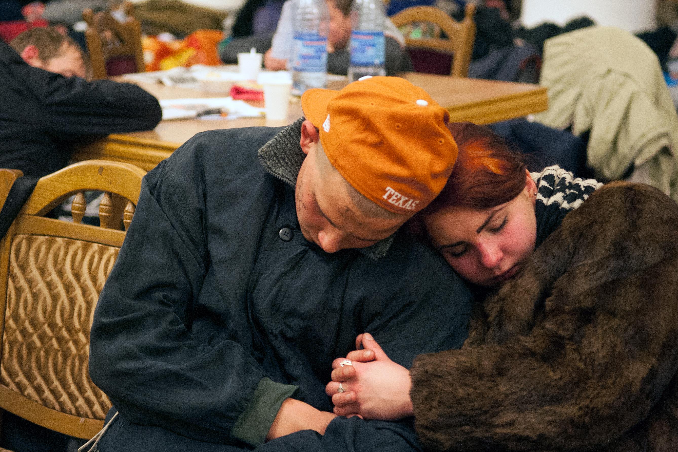 Люди спят в захваченном здании Киевской городской администрации