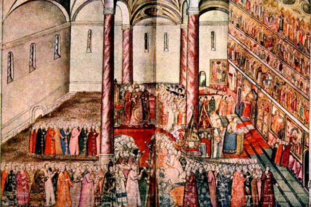Венчание на царство Царя Михаила Федоровича в Успенском соборе.