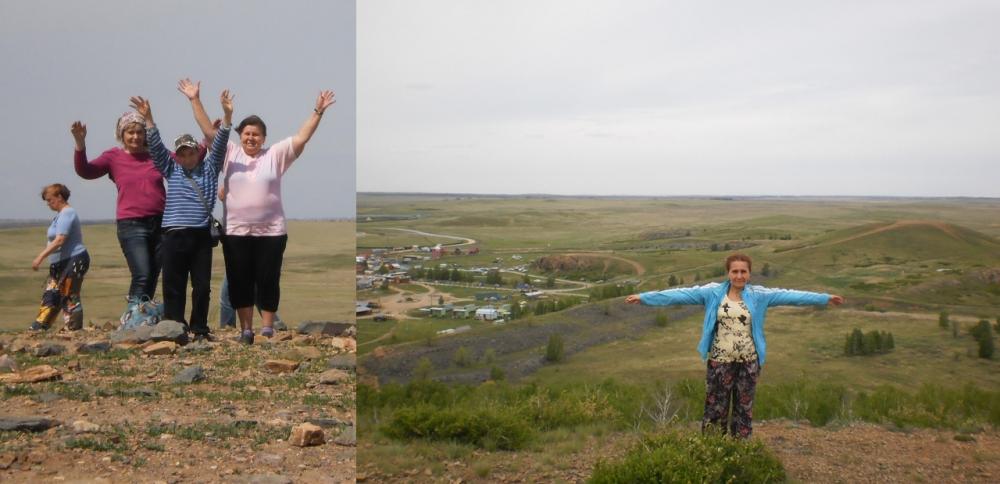 Наши первые участники сегодня - Наталья иОльга Тарадановы. Вмае этого года всей семьёй они съездили вАркаим. «Погода была хорошая, анастроение отличное. На фотографиислева - гора Покаяния. На верхней - гора Любви. Жили впалатке, жгли костёр. Привезли домой массу впечатлений», - делятся авторы снимков.