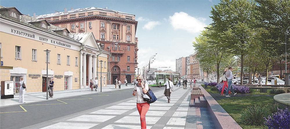 Угол ул. Поварской и Кудринской площади.