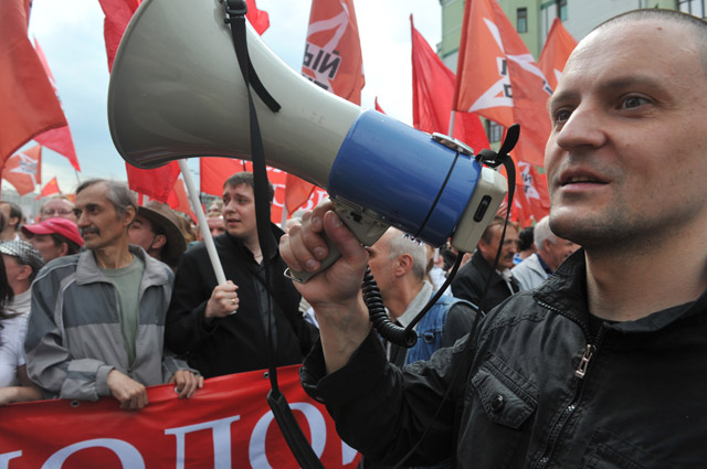 Сергей Удальцов вовремя шествия «Марша миллионов».