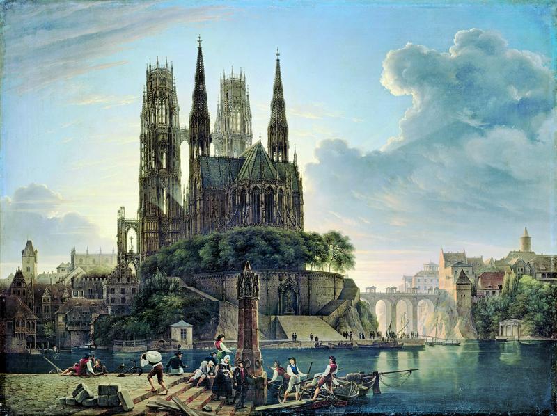 Карл Фридрих Шинкель. Готический собор у реки.