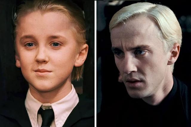 Драко Малфой в фильмах «Гарри Поттер и философский камень», 2001 год и «Гарри Поттер и Дары Смерти», 2010 г.