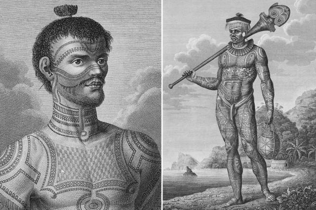 Татуированные воины с Нуку-Хивы. Гравюры по рисункам Тилезиуса.
