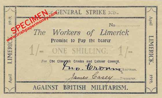 Денежная купюра, напечатанная Лимерикским советом профсоюзов в 1919 году.