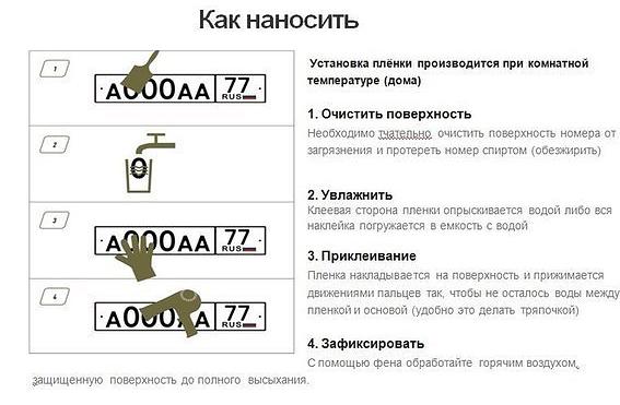 Одна из инструкций, размещённая в социальных сетях, посвящённая нанесению нано-плёнки на номер.