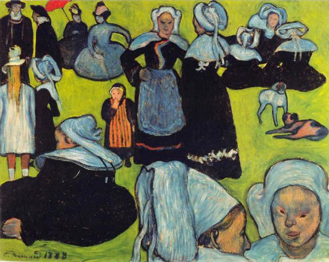 Эмиль Бернар. Картина Бретонские женщины на зеленом пастбище.