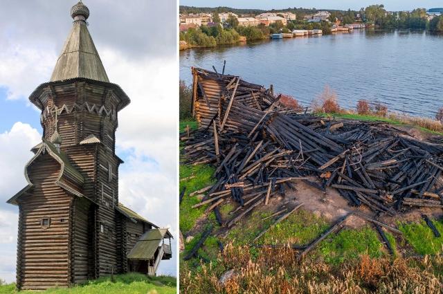 Успенская церковь в Кондопоге в 2009 году и ее пепелище
