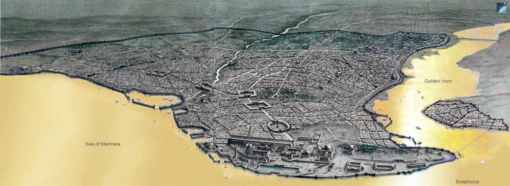 Вид на Константинополь византийской эпохи с высоты птичьего полёта (реконструкция).