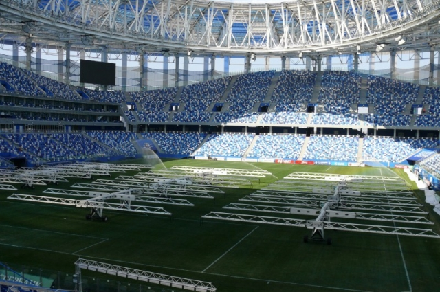 На стадионе уже прошел первый тестовый матч.