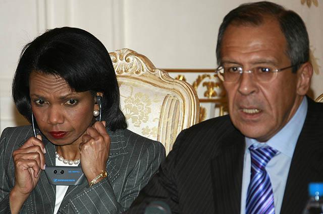 Кондолиза Райс и министр иностранных дел РФ Сергей Лавров, май 2007 года