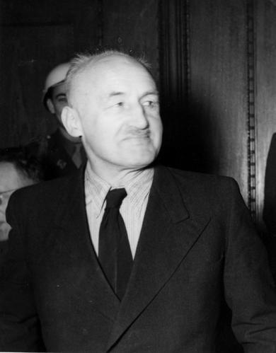 Юлиус Штрейхер на Нюрнбергском трибунале.