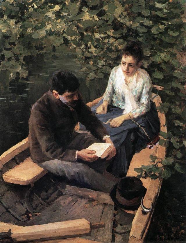 Картина «В лодке». Третьяковская галерея.