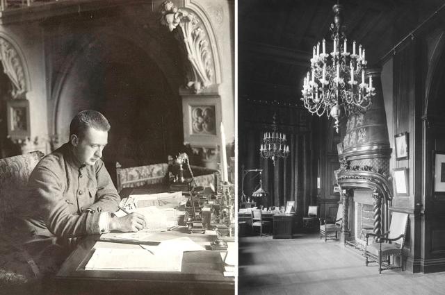 Кабинет Николая II (фото 1917 г.) и А.Ф. Керенский за рабочим столом бывшего царя.