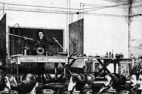 Тесла демонстрирует принципы радиосвязи, 1891 г